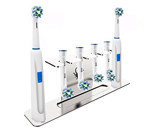 Octopodis–Portacabezales para cepillos de dientes eléctricos, acero inoxidable, compatible con Oral B Braun, Sonicare, Waterpik, fijación por medio de adhesivo o instalación libre