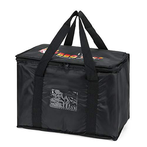 YHUS - Bolsa de transporte para pizza, bolsa aislante para envíos de alimentos, gran capacidad, nevera gruesa, de papel de aluminio, para la playa, el camping y la entrega de alimentos