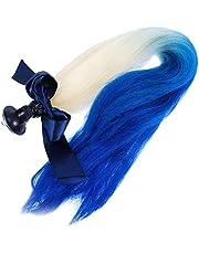 VOSAREA Helm Haar Pigtails Oprit Helm Vlechten Paardenstaart Pruiken Met Zuignap Voor Motorfiets Fiets Zwart Geel