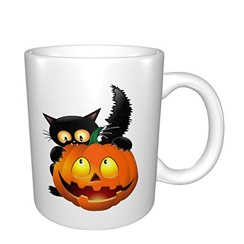 Halloween Clipart Pumpkin Carving Cat Double Sided Printing of White Mug,Interesting Coffee Cup, Exquisite Tea Cup,Ceramic Cup