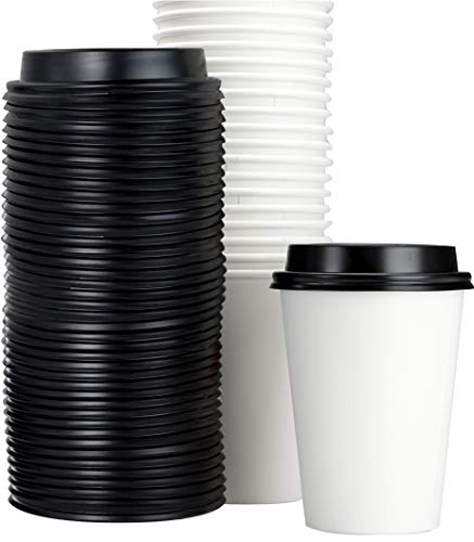Restaurant Grade 12 Oz Paper Coffee Cups With Recyclable Dome Lids. 100 Pack By Avant Grub. Durable, BPA Free Disposable Cups For Serving Hot Drinks At Kiosks, Shops, Cafes, and Concession Stands