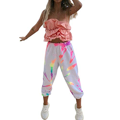 Dasongff Jogginghose Damen Sports Hose Freizeithose High Waist Sports Pants Krawattenfärben Bunt Stoffhose Hip Hop Trainingshose für Fitness, Running, Yoga, Wandern, Gym, Tanzen