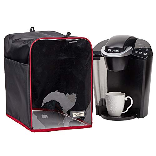 HOMEST Visible Dust Cover Compatible with Keurig Coffee Maker, Single Serve Coffee Makers Cover with Storage Pockets for K Cup, Black (Patent Pending)