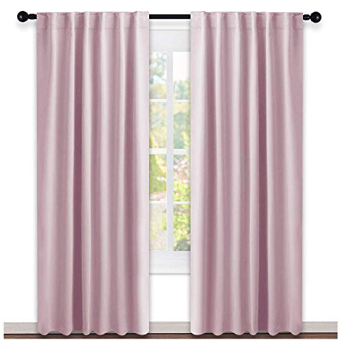 Blackout Curtain Panels for Girls Room Baby Pink 52W 84L 2 Panels Noise Reducing Back Tab Blackout Draperies by NICETOWN
