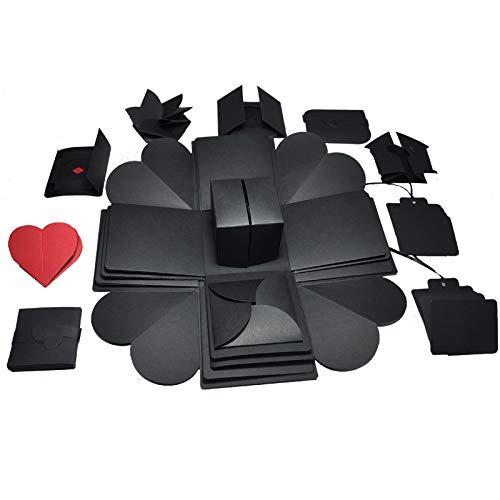 Caja Sorpresa Creativa FGen Caja de Regalo Creative Explosion Box DIY Álbum de Fotos Scrapbook Caja para Mamá Cumpleaños Boda Aniversario San Valentín (4 lados-negro)