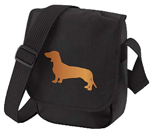 Dackel Hundetasche Reporter Tasche Schultertasche Glatt Haar Dackel Silhouette Doxie Geschenk Wurst Hund Farbauswahl, Schwarz - Roter Hund auf schwarzer Tasche - Größe: Small/Medium