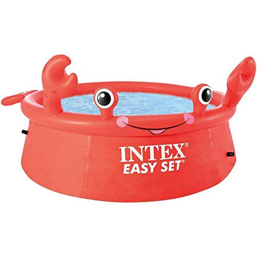 Intex 55235 - Piscina hinchable para niños a partir de 3 años, con diseño cangrejo, 183x51 cm, 880 litros, Easy Set, rojo