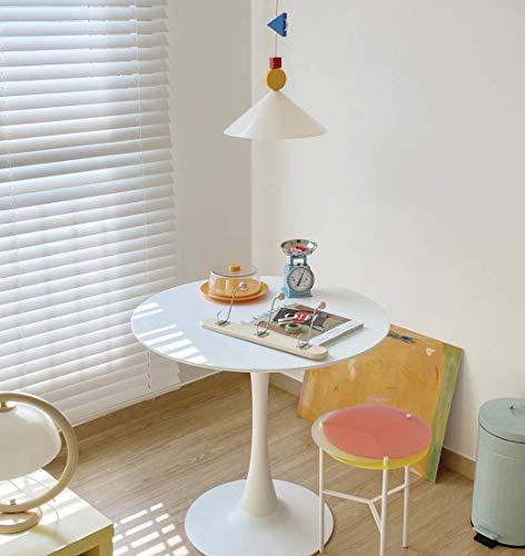 [ラウンドテーブル ホワイト- 60~100cm 木製のトップとメタルベース、のラウンドダイニングテーブル ラウンド テーブル スモール ダイニング テーブル 多機能 バー テーブル ブラック メタル ベース付 ホーム オフィス, ラウンジ キッチン リビング ルーム カフェ パブ用] [並行輸入品]