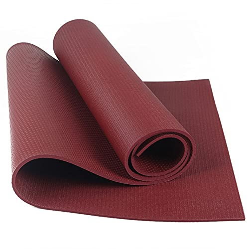 Funight Esterilla de yoga, almohadilla antideslizante de alta densidad para hombres, mujeres, resistente para entrenamiento de fitness, ideal para pilates, sentadas, flexiones, color rojo vino