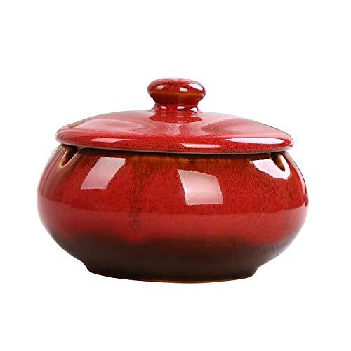 AMITD Zigarren Aschenbecher mit Deckel für Draussen Keramik Dekoration Wohnung Klein Rund,11 * 8mm,Rot