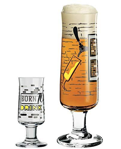 Dekomiro RITZENHOFF Beer Bierglas und passendes Schnapsglas 2er Set inkl. Glasputztuch Shinobu Ito Kollektion Frühjahr 2019
