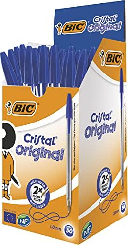 BIC Kugelschreiber Cristal Medium, 50 Kulis in Blau, Strichstärke 0,4 mm, Dokumentenecht, Liegen gut in der Hand