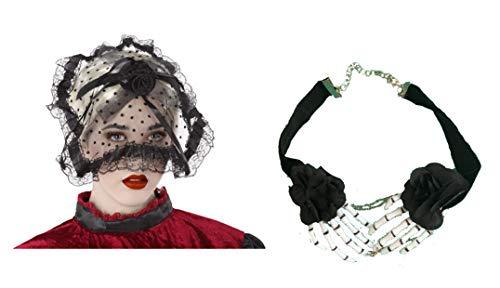 Cisne 2013, S.L. Pack de Diadema Tocado Negro Y Collar Esqueleto Disfraz Banda para el Pelo Halloween Tocado Encaje Negro.