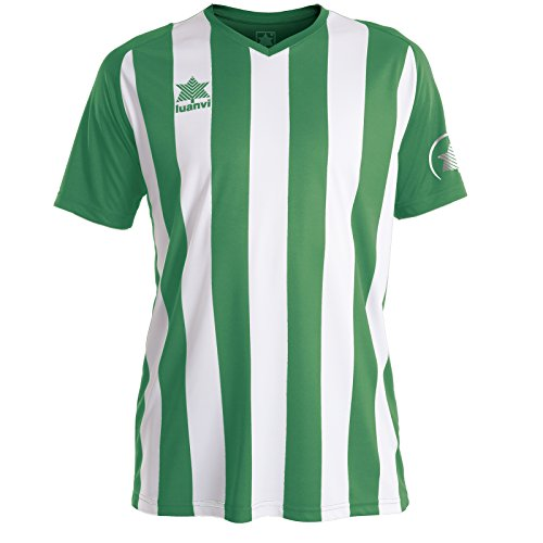 Luanvi New Listada Camiseta de equipación de Manga Corta, Hombre, Verde/Blanca, M