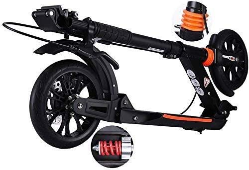 Scooter Patinete Barras de motos, Scooter adultos, Vespa Ruedas, Kick Kick ajustable con PU rueda y el disco de freno, plegable adulto Con freno de mano y el doble sistema de absorción de impactos, 15