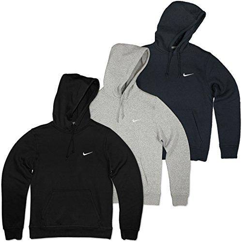 Nike Herren Kapuzenpullover Club Swoosh, dark obsidian /white, L, 611457-473