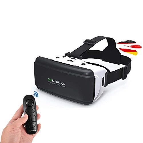 Virtual Reality 3D Brille inkl. Bluetooth-Controller, VR-Brille ist kompatibel mit allen Smartphones in der Größe 4.0 bis 6 Zoll z.B. Samsung Galaxy Modelle, iPhone, Google Pixel, Xiaomi u.v.a.