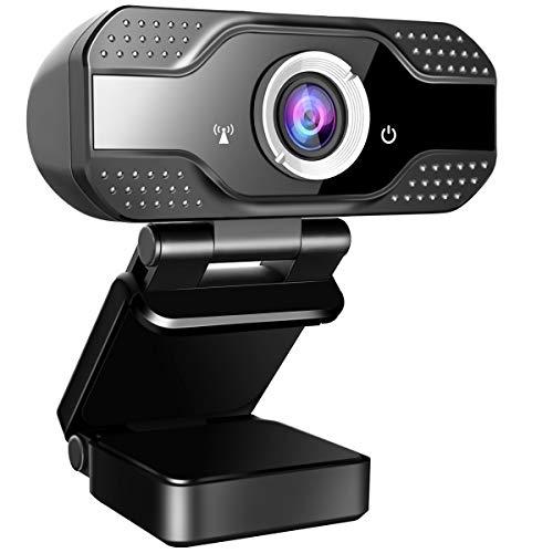 jojobnj Webcam 1080P Full HD con Micrófono, Computadora Portátil PC de Escritorio Webcam Full HD para Videoconferencia, Estudios, Conferencias, Grabación, Juegos, con Clip Giratorio