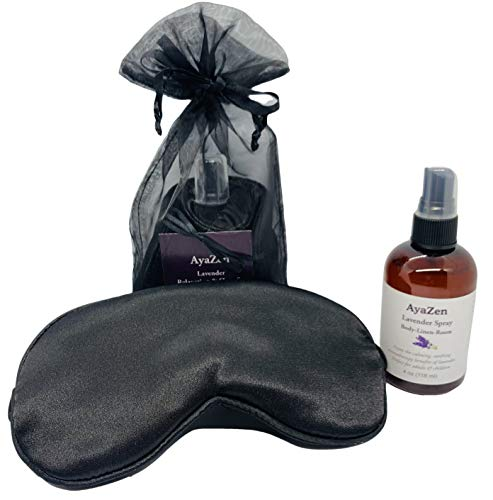 AyaZen Luxury Mulberry Silk Eye Mask & Lavender Spray|Relaxation Gift Set for Men & Women. Relaxing Natural Lavender. Mask Has Adjustable Strap Sleeping, Blackout.