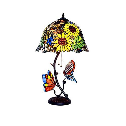 Lámpara De Mesa Tiffany Vintage,Creative Butterfly Base Design Desk Light Para Dormitorio Decorativo Junto A La Cama,Lámparas De Salón Pastoral Americana-Sección b 41 * 69cm