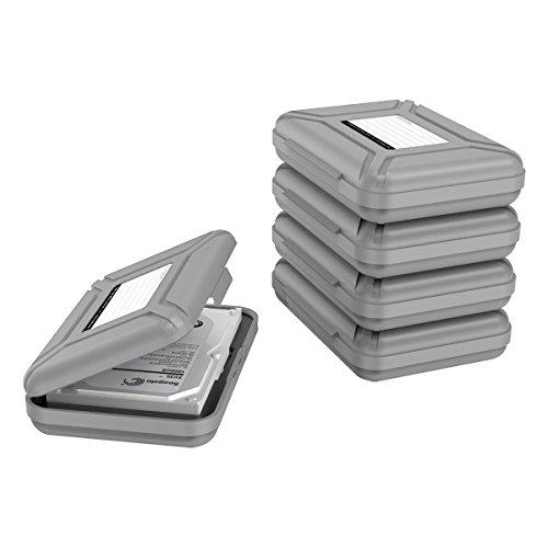Yottamaster 5 Stück 3.5 Zoll Festplattentasche Schutztasche Schutzbox für 3.5'' Festplatten/Kameras/Mobile Stromversorgung/Digitale Geräte Staubdicht, Antistatisch-Grau