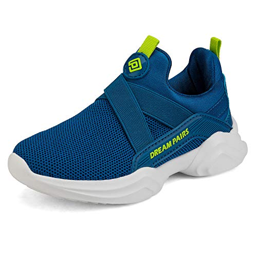 DREAM PAIRS Boys Girls Athletic Sneakers Slip on Lightweight Running Shoes Phoenix Royal Blue Neon Size 8 M US Toddler