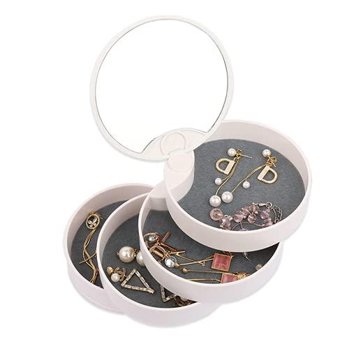 Caja joyería,Organizador Rotación de 360°,Caja Organizador de joyería blanca giratoria de 4 capas, Caja Joyero Pequeña,Jewelry Organizer Pequeña para Anillos, Aretes y Collares