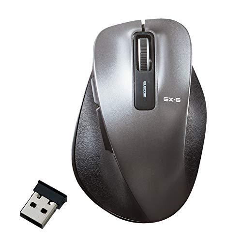エレコム マウス ワイヤレス Mサイズ 5ボタン(戻る・進むボタン搭載) BlueLED 握りの極み ガンメタリック M-XGM10DBBK/EC