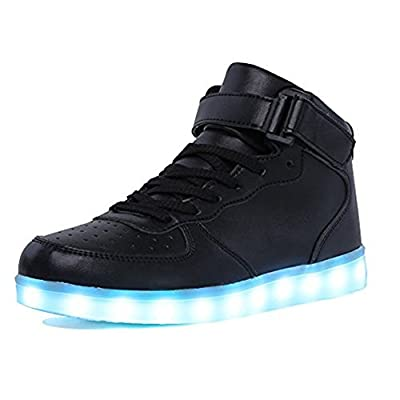 IGxx LED Light Up Shoes Light for Men High Top LED Sneakers USB Recharging Shoes Women Glowing Luminous Flashing Shoes LED Kids Black
