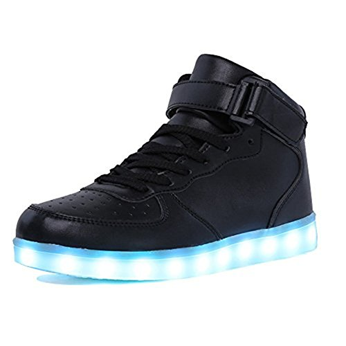 IGxx LED Light Up Shoes Light for Men High Top LED Sneakers USB Recharging Shoes Women Glowing Luminous Flashing Shoes LED Kids Black