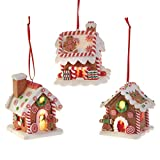 Christmas Lighted Gingerbread House Ornaments, Set of 3