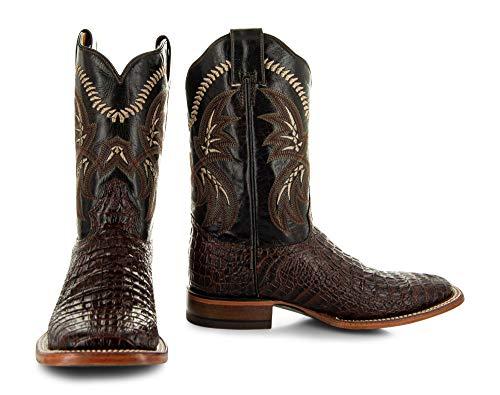 Soto Boots Men's Caiman Belly Print Cowboy Boots H4001 (Brown,9.5)