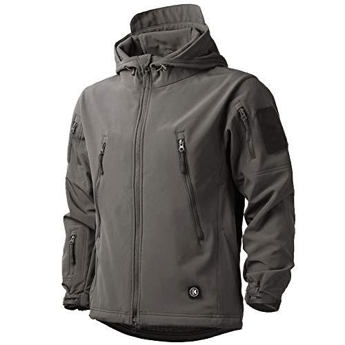 MakingDa, giacca impermeabile da uomo, invernale, casual, con cappuccio, in pile Softshell foderato in pile, tattico militare, lavoro, pesca, caccia, arrampicata Grigio S