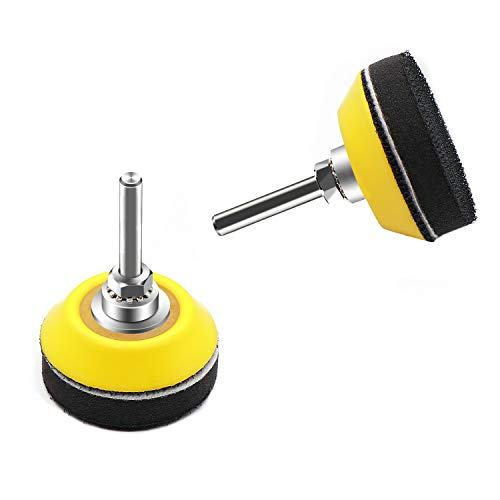 2 Inch(50mm) Hook and Loop Buffing Pad for Sanding Discs, Rotary Backing Pad with 1/4 Inch Dia Shank Drill Attachment and Soft Foam Layer-2 Pack