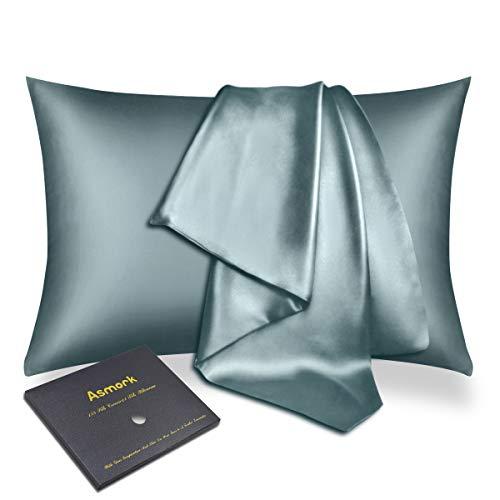 Asmork 100% Mulberry Silk Pillowcase for Hair and Skin, Both Side 19mm Natural Silk Pillowcase Cover, Hidden Zipper, Comfortable & Luxury, 1PC (Aqua Green, Queen 20''×30'')