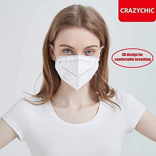 CRAZYCHIC – Atemschutzmaske FFP2 – CE Zertifiziert EN 149 Schutzmaske – Mundschutzmaske – Staubschutzmaske – Hohe Filtration Maske 20 Stück - 4