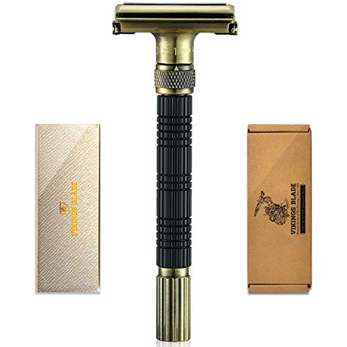 VIKINGS BLADE The Crusader Adjustable Safety Razor, RAGNARR Edition V2 (Vintage Bronze & Obsidian Black)