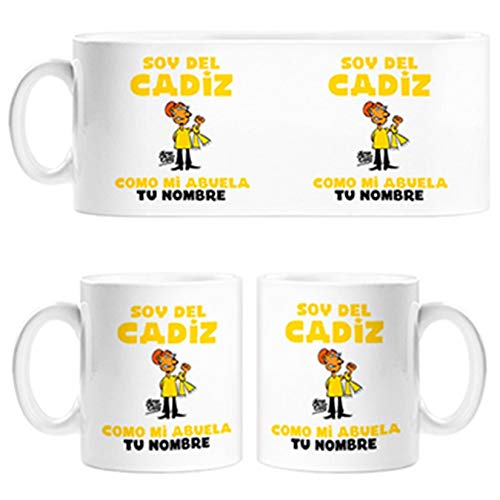 Diver Tazas Taza Soy del Cádiz como mi Abuela Personalizable con Nombre - Cerámica