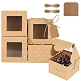 Becargo 20 Pcs Cookie Boxes with Window, Bakery Boxes for Cookies, Kraft Treat Boxes for Cookies, Pastries, Cupcakes, Small Cake Etc.