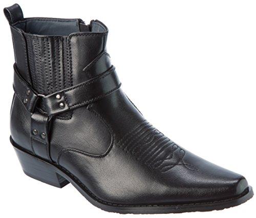 Alberto Fellini Western Style Boots New Upgrade PU-Leather Cowboy Black Size 13