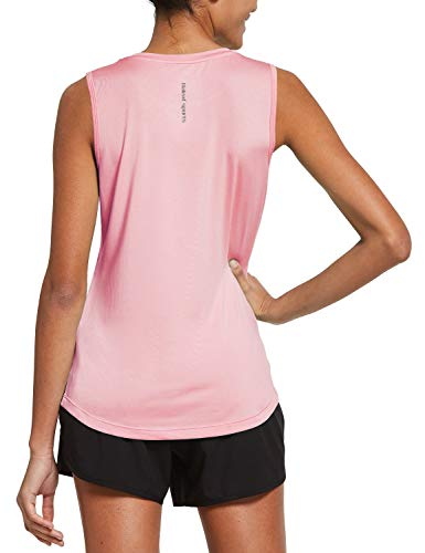 BALEAF Women's Sleeveless Workout Shirts Exercise Running Tank Tops Active Gym Tops Pink Size M