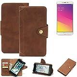 K-S-Trade® Handy-Hülle Für Oppo F1 Plus Schutz-Hülle Walletcase Bookstyle Tasche Handyhülle Schutz Hülle Handytasche Wallet Flipcase Cover PU Braun (1x)