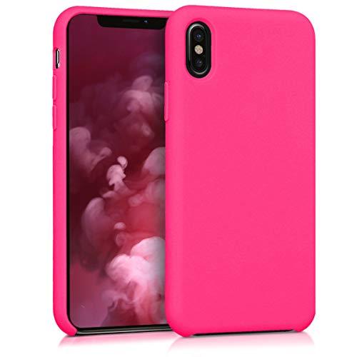 kwmobile Hülle kompatibel mit Apple iPhone X - Handyhülle gummiert - Handy Hülle in Neon Pink