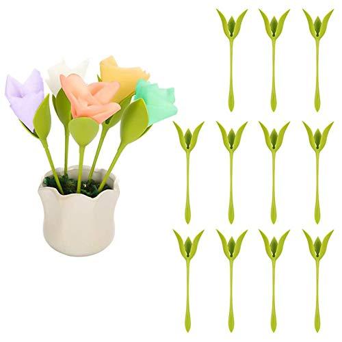 Bosha - Servilleteros creativos con diseño de flor, papel rosa, utensilio para flores, rollo de flores, diseño verde para la decoración de la mesa, servilletero para fiestas en familia (16 unidades)