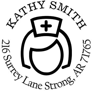 StampExpression - Female Nurse Medical Custom Return Address Stamp - Self Inking. Personalized Rubber Stamp with Lines of Text (A-76177)