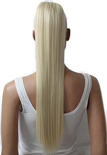 PRETTYSHOP 70cm Postiche Natte Queue De Cheval Extensions De Cheveux Raide Blonde Platine H76