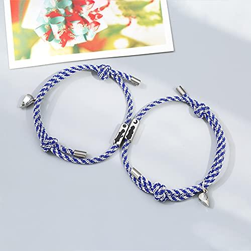 Juego de 2 pulseras de acero inoxidable para parejas, pulseras de abalorios de señorita día y noche, regalo de joyería para hombres y mujeres (longitud ajustable, color metálico: rayas azules)