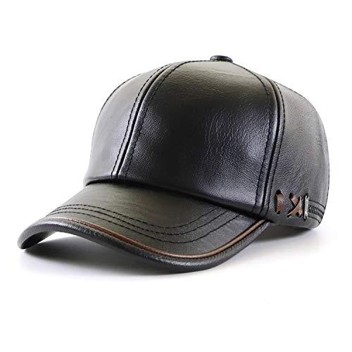 Ueither Gorra de Béisbol para Hombre Ajustable Sombrero de Cuero Suave de...