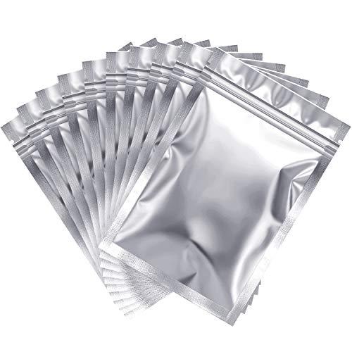 100 Pezzi Sacchetti di Prova dell'Odore Risigillabile Sacchetto di Stagnola Borsa Piatta a Chiusura Lampo per Conservazione dei Cibi a Favore della Festa (Silver, 4 x 6 Inch)
