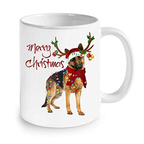 N\A Taza de café, Amantes de los Perros, Santa, Pastor alemán, Luces, Reno, Taza, cerámica, Taza de Viaje, 11 oz